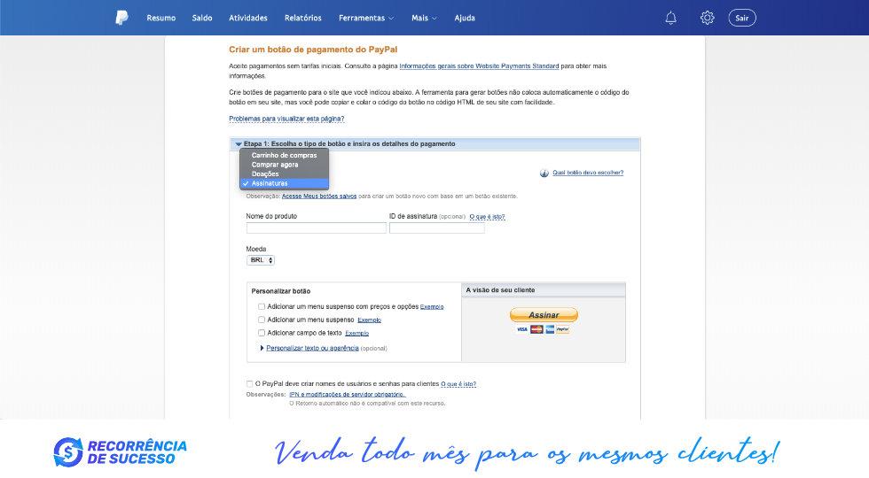 Pagamento Assinatura Paypal Recorrência